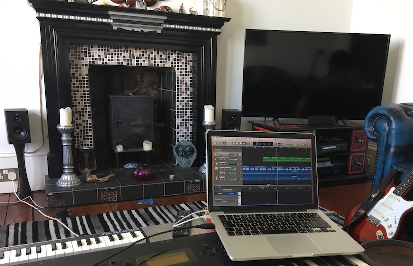 A laptop showing a home music recording in progress. This sits under the title sound and vision in the digital world - a sub heading of the post titled embrace the digital world
