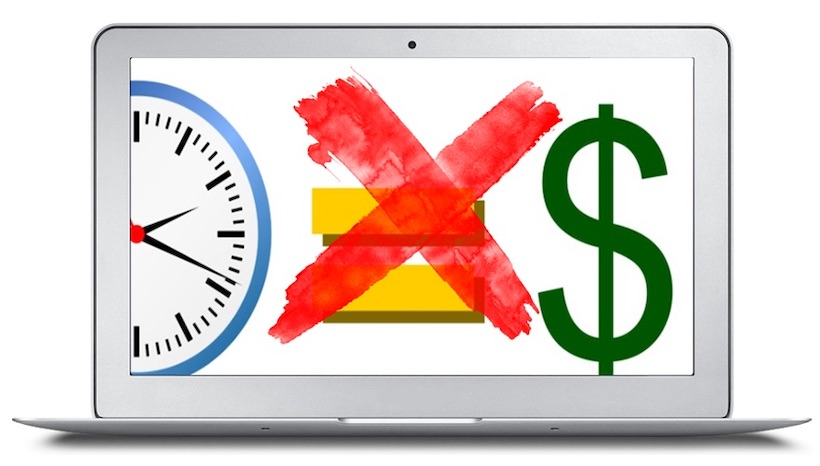 time and money - image of computer screen with a clock and dollar sign crossed out showing that time does not equal money in the modern world