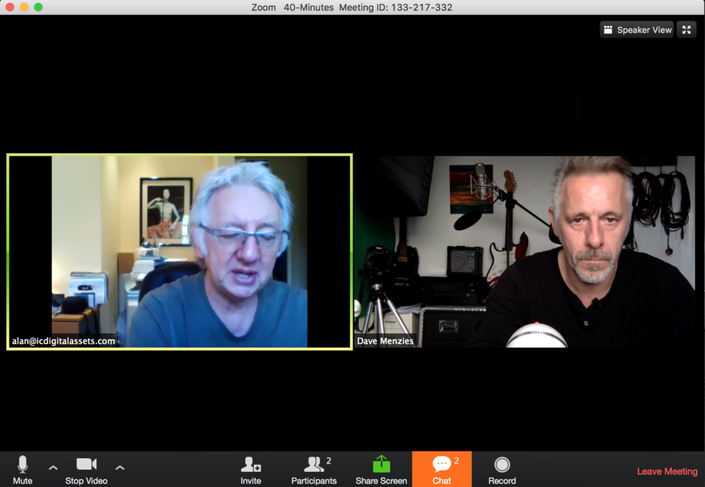 Screenshot of a video conference between two older entrepreneurs discussing starting a business at 50+