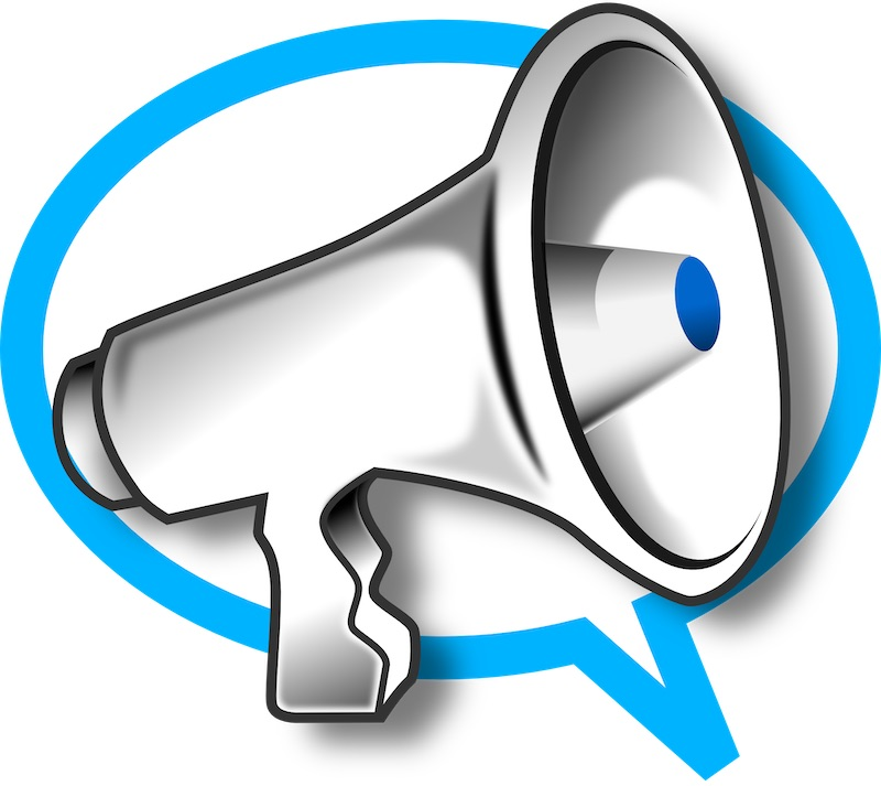 Affiliate marketing or e-commerce - cartoon Image of a megaphone symbolising affiliate marketing