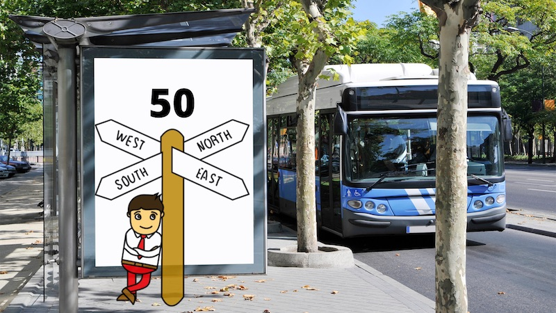 A cartoon man stands at a bus stop leaning on a sign that reads 50 and points in 54 directions to symbolise the idea of changing course at 50