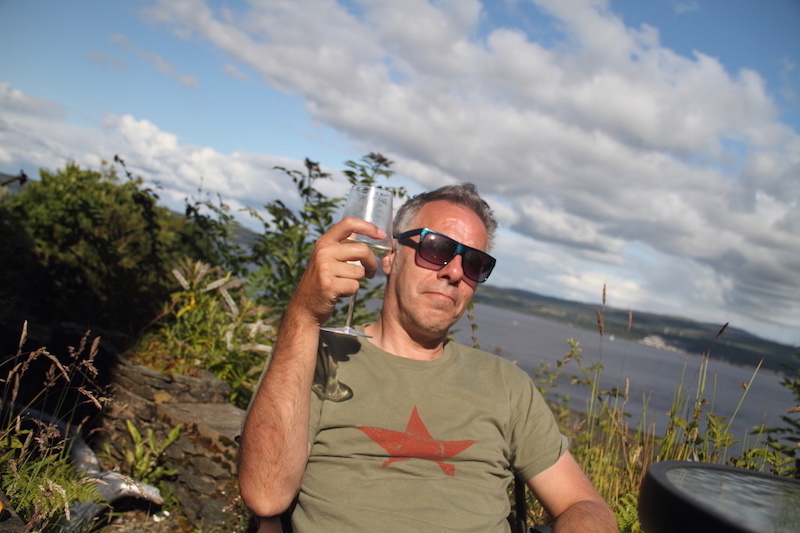 Practical visualisation hacks. Picture of the author enjoying a glass of wine in front of his new house overlooking the sea